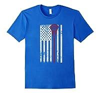 Lacrosse American Flag Patriotic Athletic Sport Shirts Royal Blue