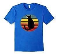 Beautiful Cat With A Retro Distresses Sunset Shirts Royal Blue