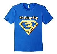 3rd Birthday Boy Gift Super Hero T-shirt Royal Blue