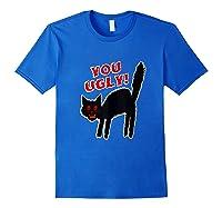 Funny Halloween Scary Black Cat Horror Gift Creepy Black Cat Shirts Royal Blue