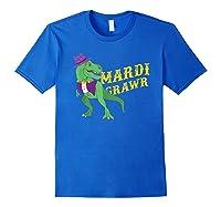 Mardi Grawr T Rex Dinosaur Mardi Gras Bead T Shirt T-shirt Royal Blue
