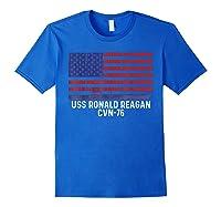 Ronald Reagan Cvn 76 Aircraft Carrier Vintage Usa Flag Shirts Royal Blue