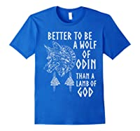 Vikings Wolf Rune Circle Wolf Of Odin Norse Mythology T-shirt Royal Blue