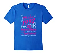 October 1992 28th Birthday Gift 28 Years Of Being Awesome Shirts Royal Blue