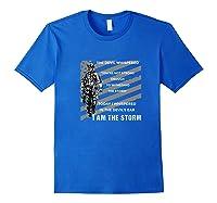 Military Combat Veteran Proud Patriot Us Flag I Am The Storm Premium T-shirt Royal Blue