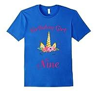 9th Birthday Girl Unicorn Shirt 9th Birthday Out Royal Blue