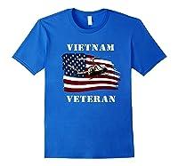 Vietnam Veterans Uh 1 Huey Helicopter American Flag Shirts Royal Blue