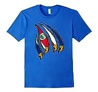Costa Rica Patriotic American Eagle Claws Costa Rican Flag T-shirt Royal Blue