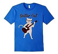 Vintage Guitar Cat Musical Novelty T-shirt For Royal Blue