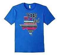 Texas Girl State Silhouette Serape T-shirt Royal Blue