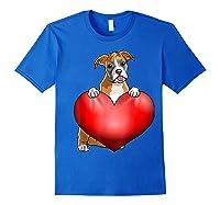 Valentines Day Dog Boxer Heart Gift Girl Shirts Royal Blue