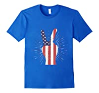 Peace American Flag Funny Gift 4th Of July Shirt Royal Blue