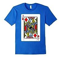 Jack Of Diamonds Playing Card Group Costume Poker Player T-shirt Royal Blue