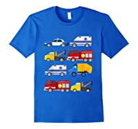Emergency Vehicles Fire Truck Police Car Ambulance Tow Truck Shirts Royal Blue
