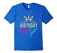 Birthday Girl 7 Year Old Gift Cute Unicorn Face 7th Bday T-shirt Royal Blue
