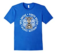 Sky Above Earth Below Peace Within Goat Yoga Cute Funny Premium T-shirt Royal Blue