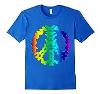 Butterflies Peace Sign Love Butterfly 60s Retro Hippie Gift T-shirt Royal Blue