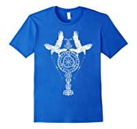 Odins Ravens Huginn & Muninn Vegvisir Tshirt Mjolnir Valknut Royal Blue