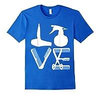 Hairdresser Love Hairdryer Scissors Barber Hair Brush Shirts Royal Blue