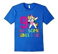 9 Years Old 9th Birthday Unicorn Dabbing Girl Party Shirts Royal Blue