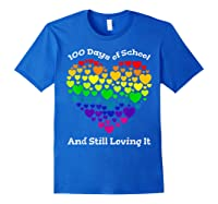 Funny 100th Day Of School Tea Heart Valentine Day Shirts Royal Blue
