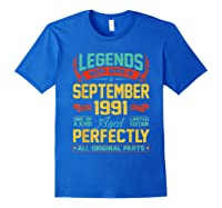Legends Were Born In September 1991 29th Birthday Gifts Shirts Royal Blue