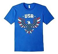 Patriotic American Flag Bald Eagle Usa T Shirt Royal Blue