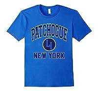 Patchogue Li Varsity Style Navy Blue Print Shirts Royal Blue