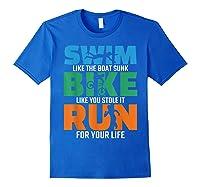 Swim Bike Run Triathlon Running Cycling Swimming Shirts Royal Blue