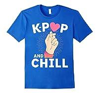 K Pop And Chill Finger Heart Korean Kpop Merchandise Shirts Royal Blue