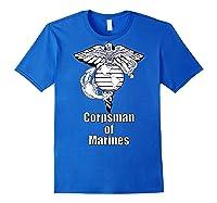 Back Design 8404 Fmf Corpsman Military Veteran Shirts Royal Blue