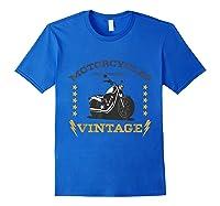 Vintage Motorcycle Bike Rocker Bike Club T-shirt Royal Blue