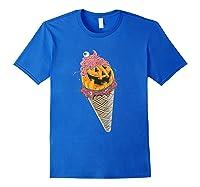 Halloween Pumpkin Ice Cream T-shirt Royal Blue