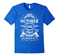 Vintage October 1945 75th Birthday Gifts For 75 Years Old Shirts Royal Blue