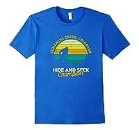 Retro Comanche Creek, Colorado Big Foot Souvenir Shirts Royal Blue