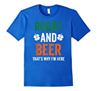 Rugby And Beer Funny Alcohol Outs For St Patricks Day T-shirt Royal Blue