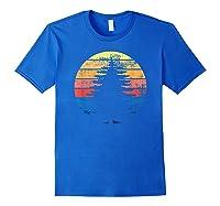 Retro Sun Minimalist Pine Tree Design Graphic Gift T-shirt Royal Blue