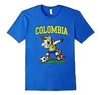 Dabbing Soccer Colombia Unicorn Colombian Football Shirts Royal Blue
