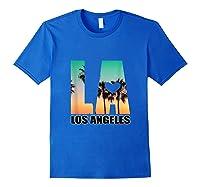 Los Angeles Design La Palm Tree Sunset Boulevard T-shirt Royal Blue