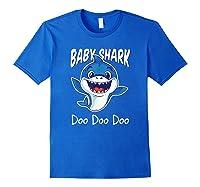 Baby Shark Doo Doo Birthday Party Gifts Girl Boy Out T-shirt Royal Blue