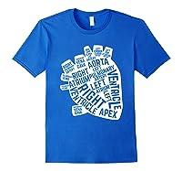 Anatomical Heart Cardiac Nurse Parts Of Heart Shirts Royal Blue