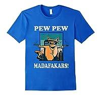 Cat Madafakas Vintage Crazy Cat Funny Graphic Shirts Royal Blue