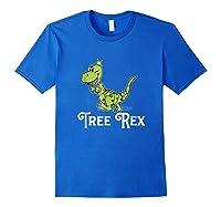 Tree Rex Funny Dino Christmas Lights Shirts Royal Blue