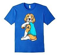 Beagle I Love Mom Apparel, Dog Mom Gifts Shirts Royal Blue