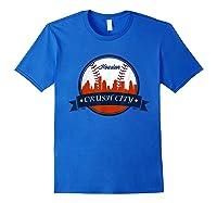 Vintage Retro Houston City Skyline Baseball Tshirt Royal Blue