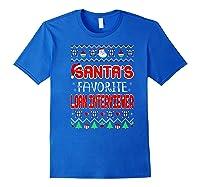 Santas Favorite Loan Interviewer Christmas Ugly Sweater Shirts Royal Blue
