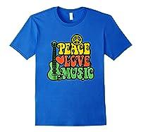 Peace Love Music Reggae Guitar T-shirt For Everyone Royal Blue