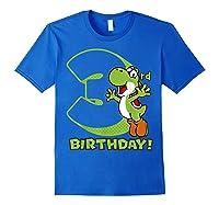 Super Mario Yoshi 3rd Birthday Action Portrait T-shirt Royal Blue