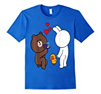 Brown Bear Cony Bunny Rabbit Engaget Ring Marriage Fiance Shirts Royal Blue