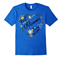 Best Mimmie Ever Heart Flower Blessed Grandma Mother's Day Shirts Royal Blue